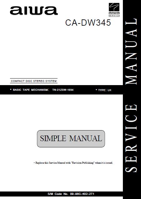 AIWA CA-DW345 Simple Compact Disc Service Manual