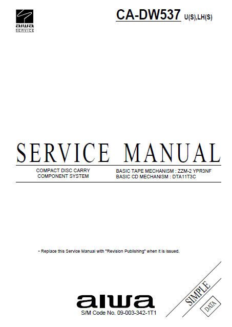 AIWA CA-DW537 Simple Compact Disc Service Manual
