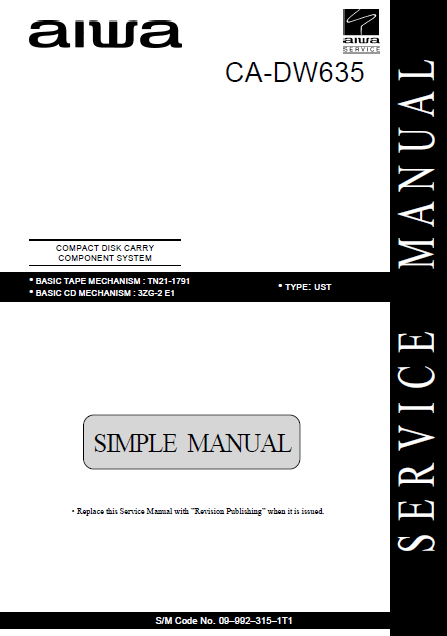 AIWA CA-DW635 Simple Compact Disc Service Manual