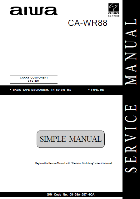 AIWA CA-WR88 Simple Compact Disc Service Manual