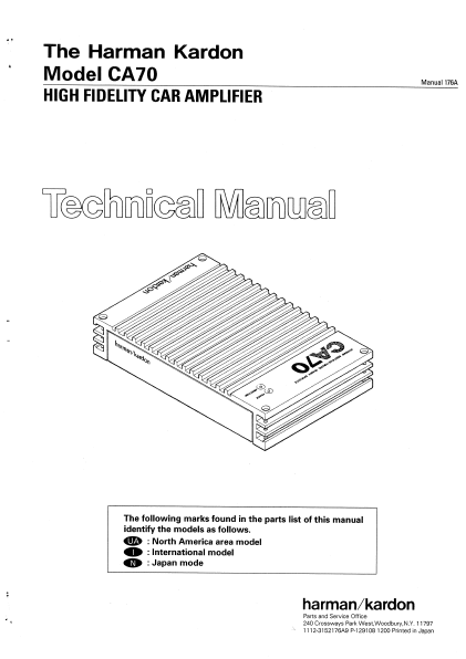 Harman Kardon Model CA70 High Fidelity Car Amplifier Technical Service Manual