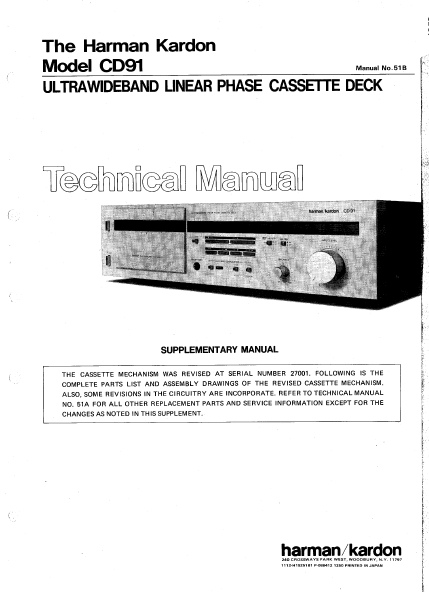 Harman Kardon CD91 Ultrawideband Linear Phase Cassette Deck Technical Service Manual