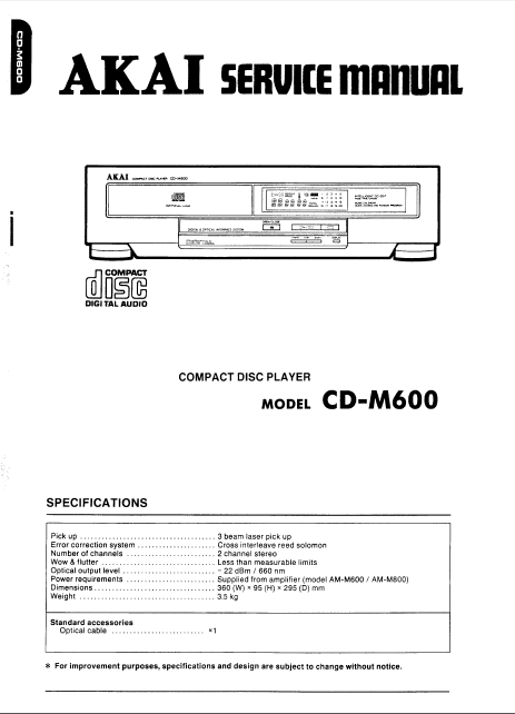AKAI Model CD-M600 Compact Disc Player Service Manual