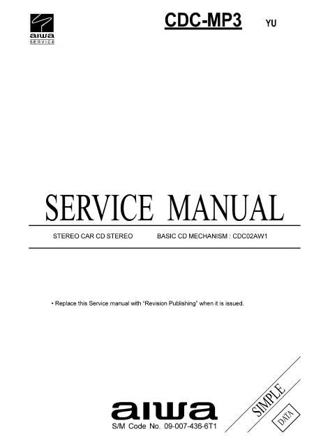 AIWA Simple CDC-MP3 Stereo Car Service Manual