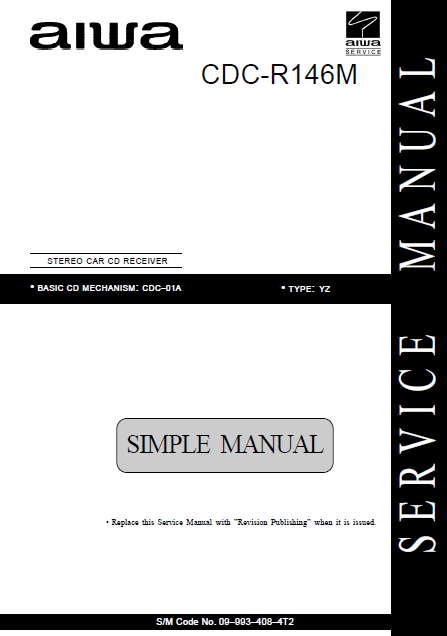 AIWA Simple CDC-R146M Stereo Car Service Manual