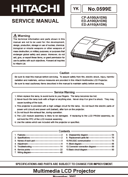 HITACHI CP-A100 YK Multimedia LCD Projector Service Manual