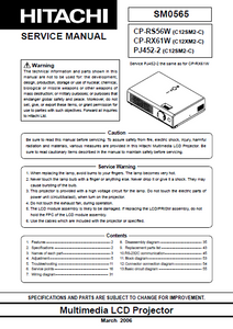 HITACHI CP-RS56W Multimedia LCD Projector Service Manual