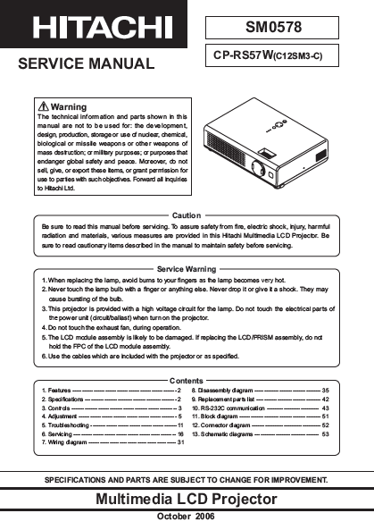 HITACHI CP-RS57W Multimedia LCD Projector Service Manual