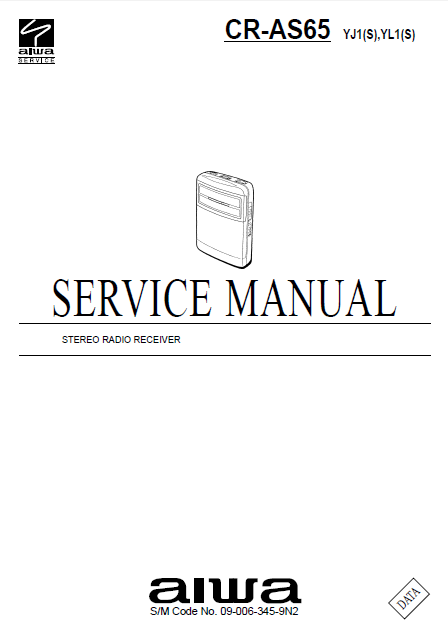 AIWA CR-AS65 Stereo Radio Receiver Service Manual