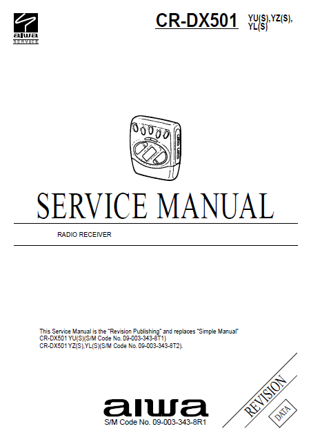 AIWA CR-DX501 Radio Receiver Revision Service Manual