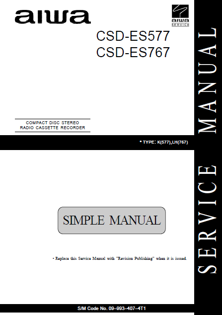 AIWA CSD-ES577 Simple Compact Disc Recorder Service Manual