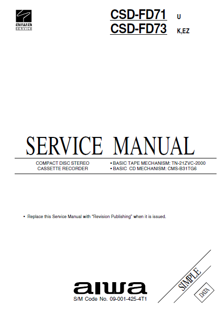 AIWA CSD-FD71 Simple Compact Disc Recorder Service Manual