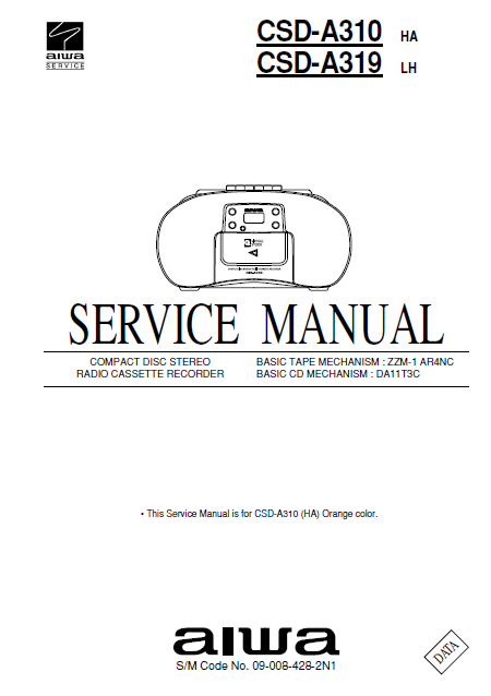 AIWA CSD-A310HA Compact Disc Service Manual
