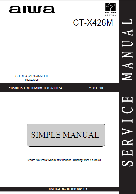AIWA CT-X428M Simple Stereo Car Cassette Receiver Service Manual