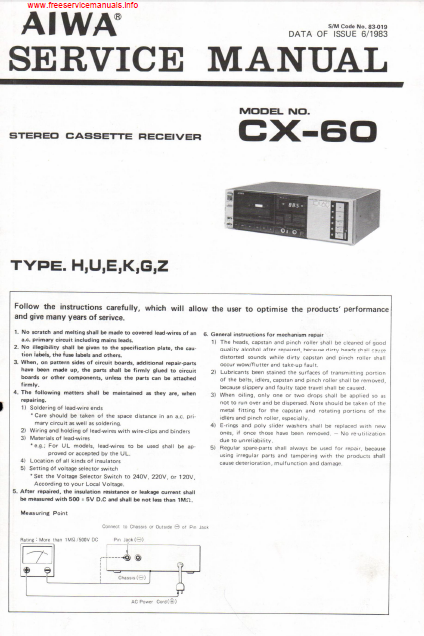 AIWA CX-60 Stereo Cassette Receiver Service Manual