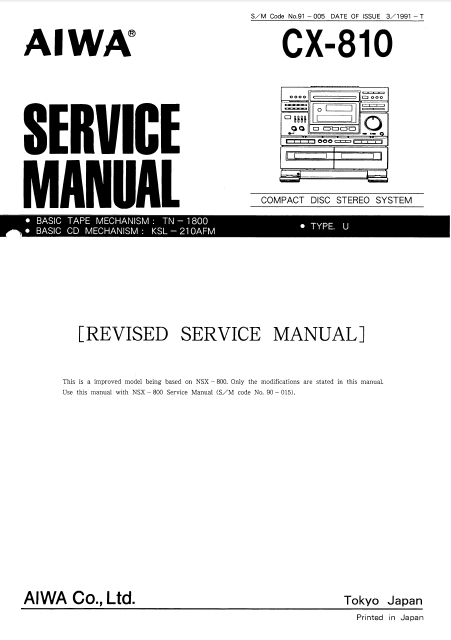AIWA CX-810U Revised Compact Disc Service Manual