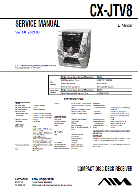 AIWA CX-JTV8 Ver.1.0 Compact Disc Deck Receiver Service Manual