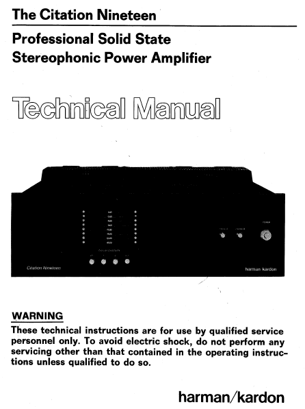 Harman Kardon Model Citation Nineteen Professional Solid State Technical Service Manual