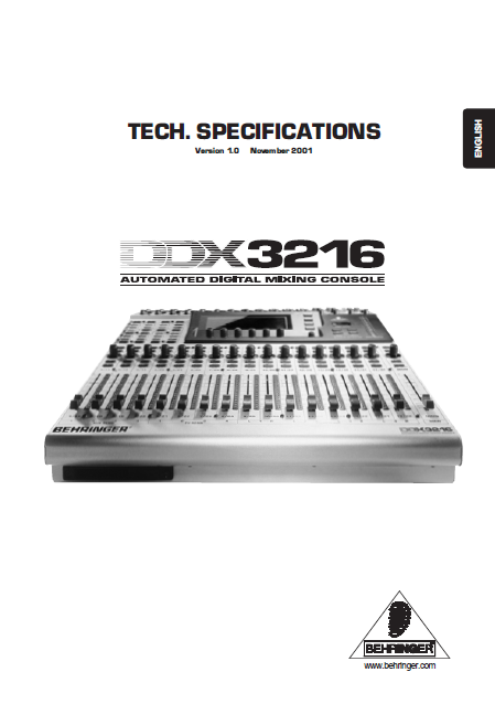 BEHRINGER DDX3216 Automated digital Mixing Console TECH. Specifications