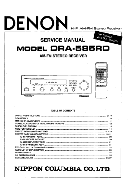 DENON DRA-585RD AM FM Stereo Receiver Service Manual