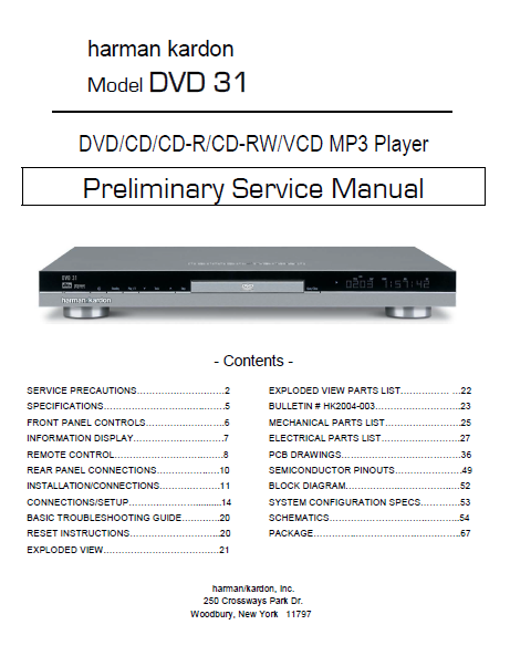 Harman Kardon Model DVD 31 MP3 Player Preliminary Service Manual