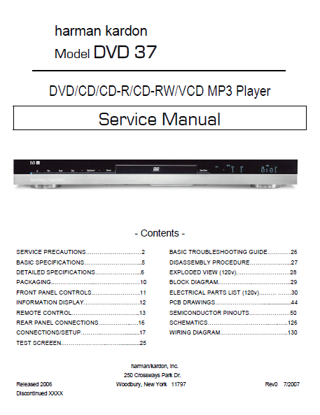 Harman Kardon Model DVD 37 MP3 Player Service Manual