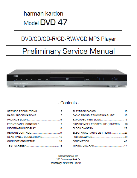 Harman Kardon Model DVD 47 MP3 Player Preliminary Service Manual