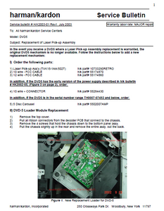 Harman Kardon Model DVD5 HK2003-01 Rev1 Service Bulletin