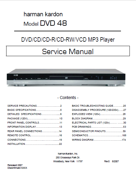 Harman Kardon Model DVD 48 MP3 Player Service Manual