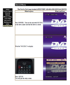APEX AD-600A DVD Secret Menu Remote