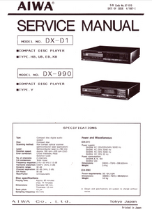 AIWA DX-D1 DX-990 Compact Disc Player Service Manual