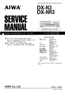 AIWA DX-N3,NR3 Compact Disc Player Service Manual