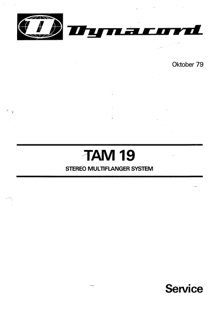 Dynacord Tam 19 Stereo Multiflanger Service Manual