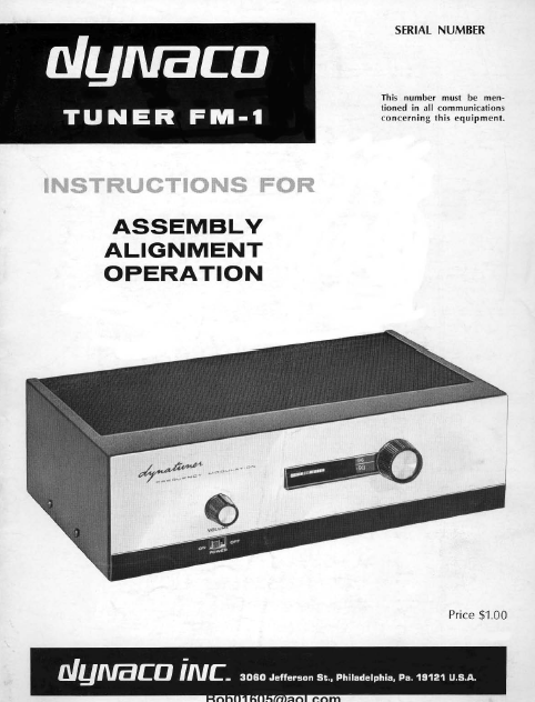 Dynaco Tuner FM-1 Assembly Service Manual