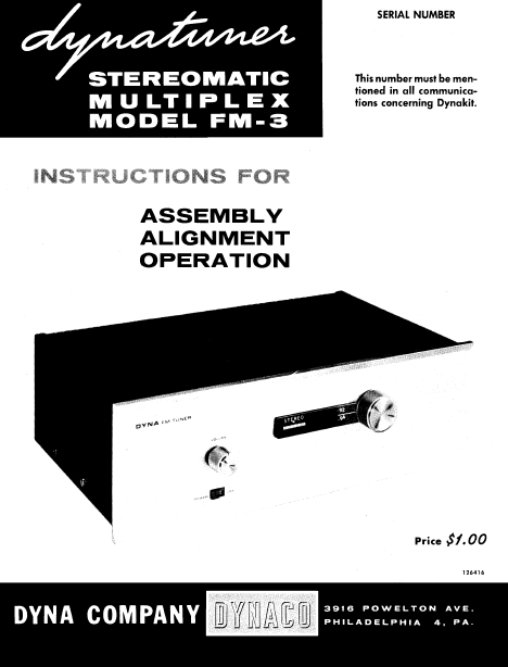 Dynaco Turner Stereomatic FM-3 Service Manual