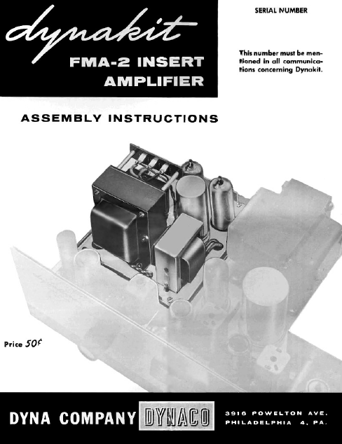 DYNACO FMA-2 Insert Amplifier Operations Manual