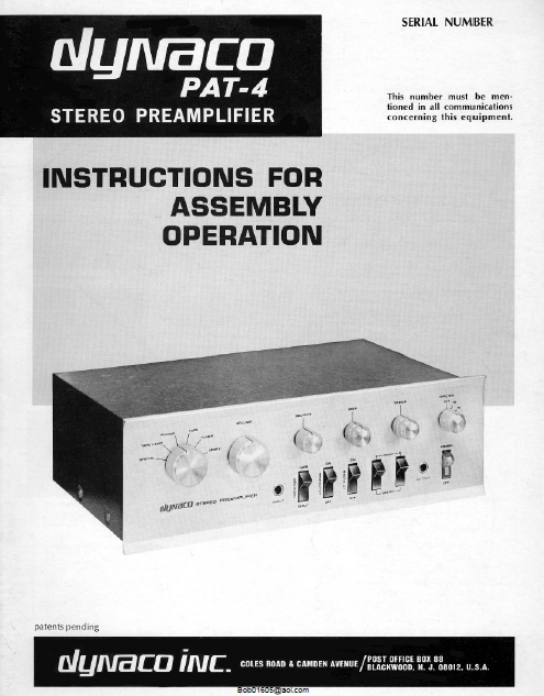 DYNACO PAT-4 Stereo Preamplifier Operations Manual