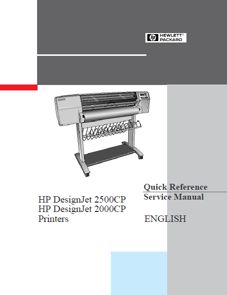 Hewlett Packard DesignJet 2500CP Printers Quick Reference Service Manual