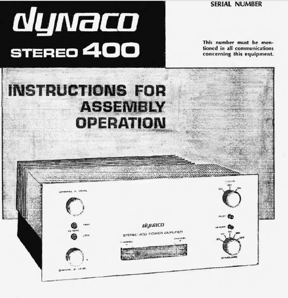 Dynaco ST400 Operations Manual