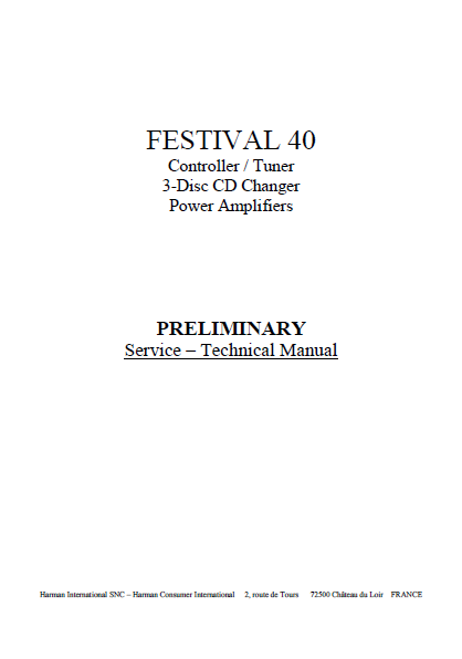 Harman Kardon FESTIVAL 40 Power Amplifiers Preliminary technical Service Manual