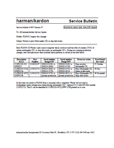 Harman Kardon Model FL8300 Compact Disc Changer 9607 Service Bulletin
