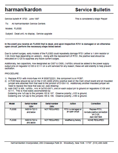 Harman Kardon Model FL8300 9703 Service Bulletin