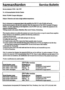 Harman Kardon Model FL8400 Compact Disk Player Service Bulletin