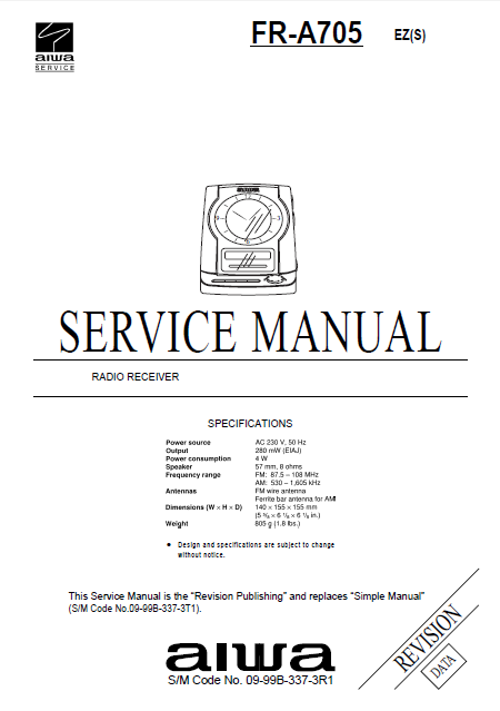 AIWA FR-A705 Revision Radio Receiver Service Manual