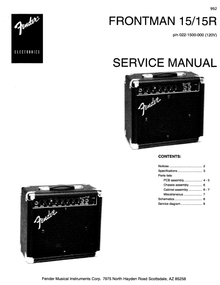 FENDER Frontman 15-15R Service Manual
