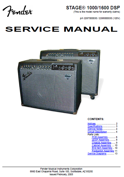FENDER Stage 1000-1600 DSP Service Manual