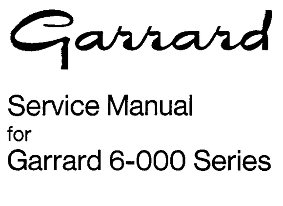 Garrard Model 6-300 Service Manual