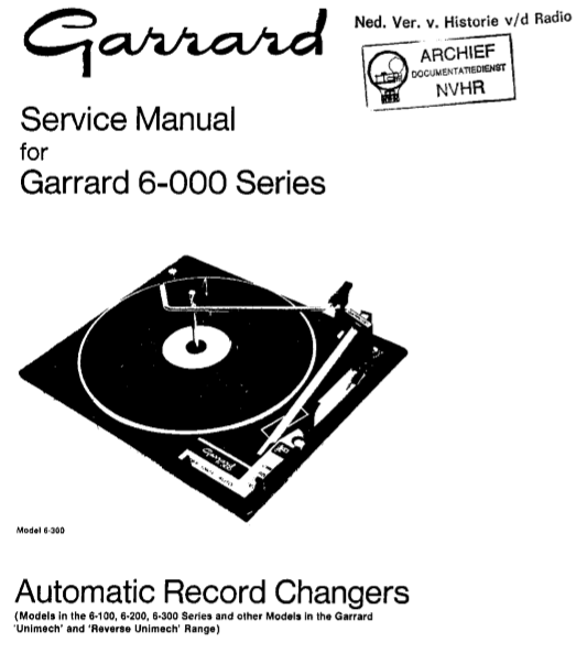 Garrard Service Manuals – Electronic Service Manuals