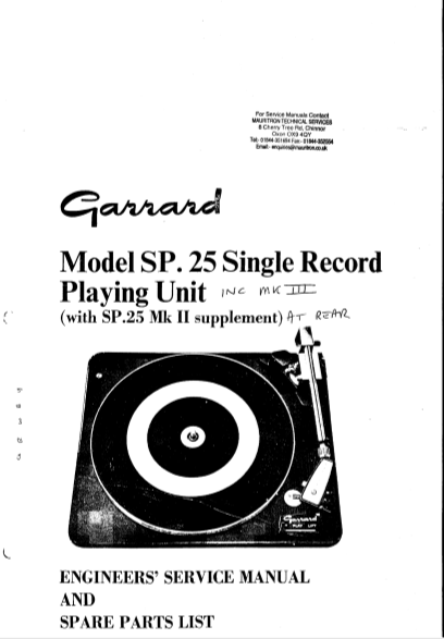GARRARD Model SP 25 Single Record Playing Unit Service Manual