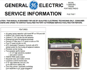 GE Models 7-2885A-B-C SERIES Service Manual
